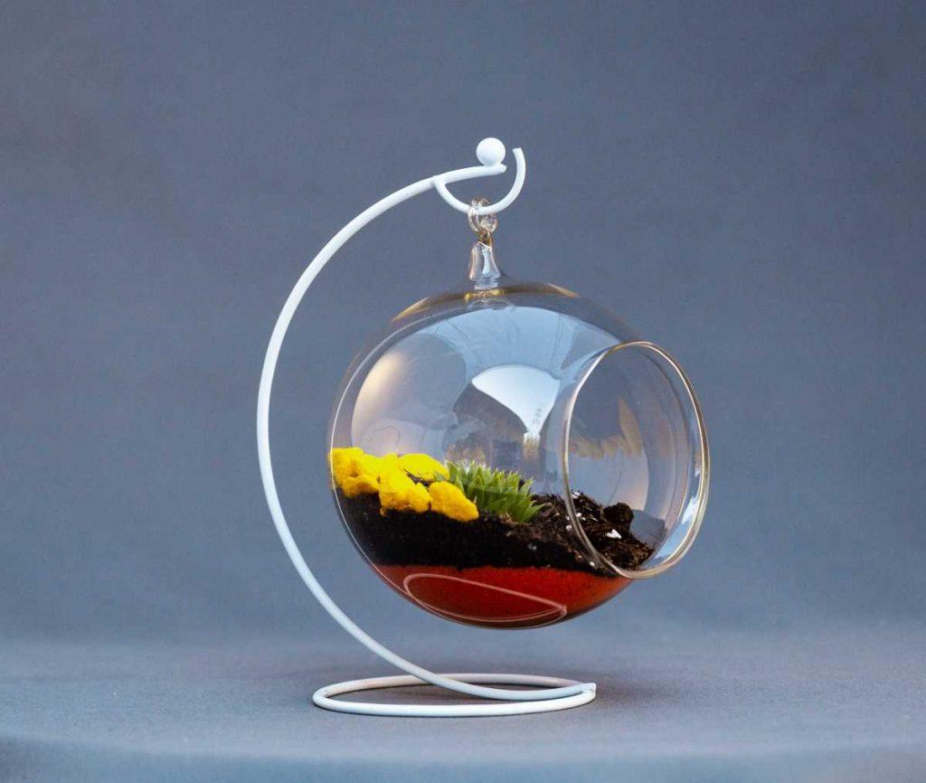 Terariu cu planta suculenta in glob de sticla pe suport metalic alb