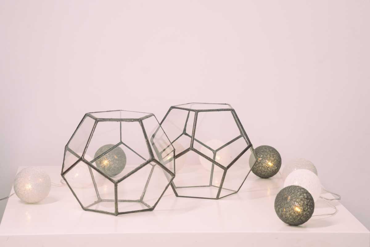 vas terariu din sticla, set de doua dodecaedre cu muchii negre, greenarium