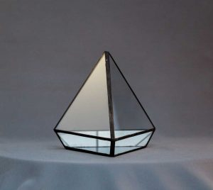 terariu din sticla, handmade, muchii negre, piramida, greenarium