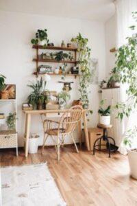 birou din lemn inconjurat de plante verzi de diferite soiuri, elemente din lemn, decor deschis