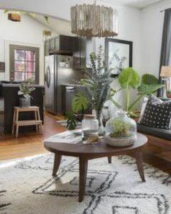 living modern , masa din lemn cu plante deasupra, lanada, mobila gri inchis