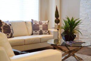 Sufragerie amenajata in culori deschise, canapea crem, masa din sticla cu picioare de lemn, planta verde