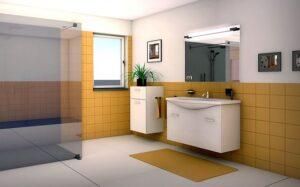Schita unei toalete cu gresie galbena, planta verde pe o bucata de mobilier alba