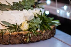 tort cu glazura alba pe o felie de lemn, cu plante verzi suculente