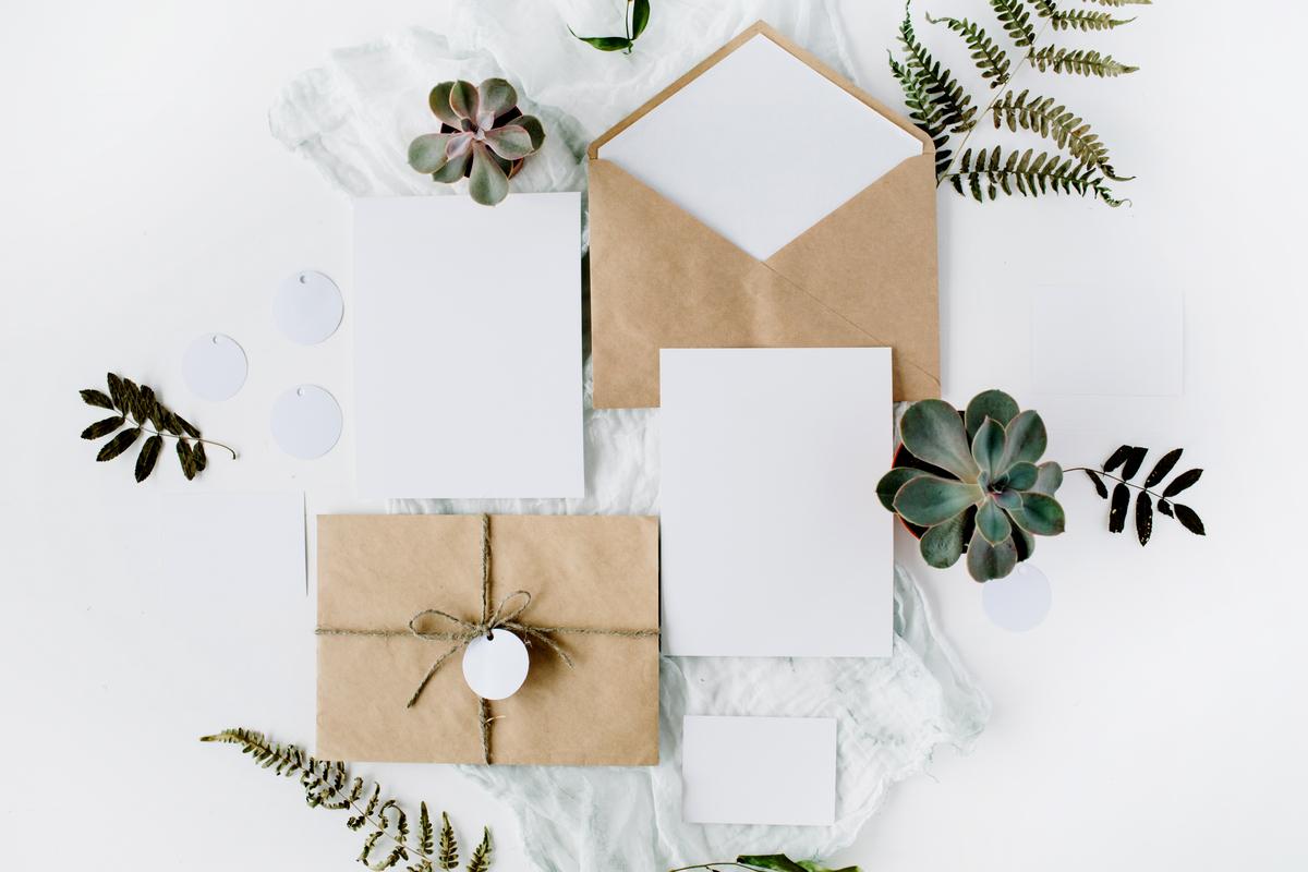invitatie model in culori deschise, natur, plante suculente, servet alb