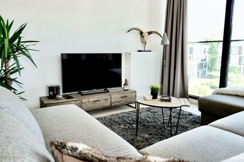 sufragerie aranjata in stil scandinav, mobilier din lemn, canapea gri, craniu de animal ca decor
