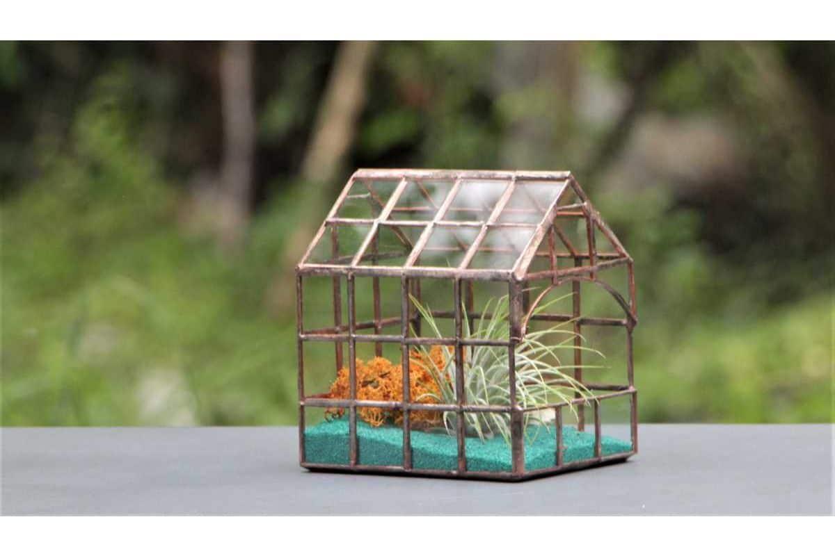 casuta mozaic mica, muchii din cupru, plante aeriene si nisip turcoaz, fundal natural
