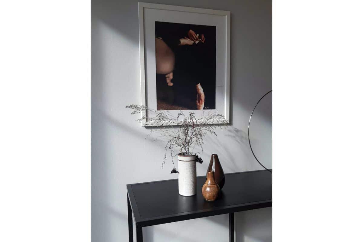 coltisor cu ghivece de diferite culori, masa neagra, tablou cu o baletina