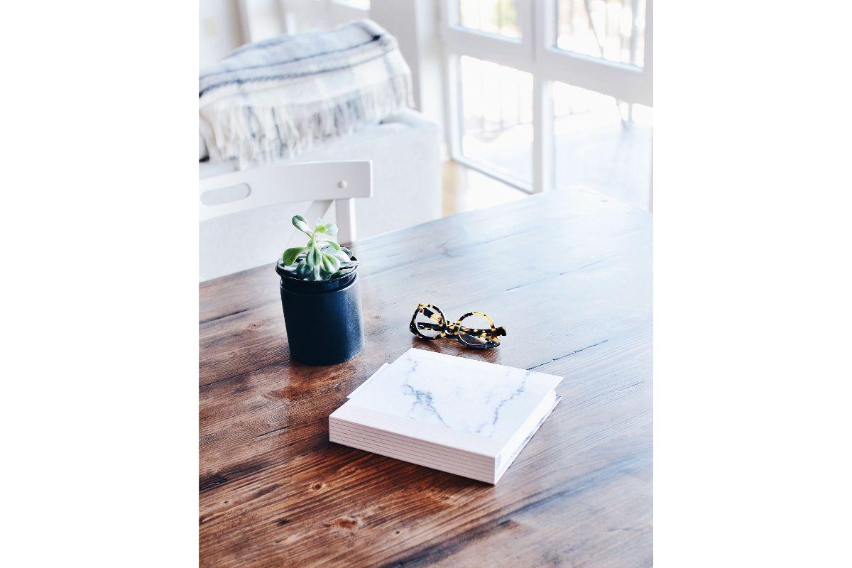 decoratiune pt masa cu o planta suculenta in ghiveci negru, ochelari de vedere, lemn masiv, fundal alb